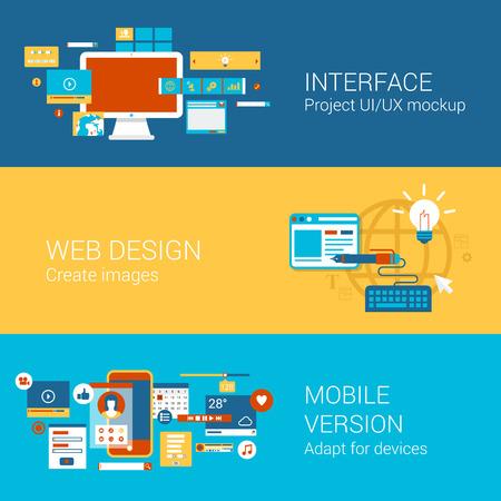 mobiele website: Website interface design-concept vlakke pictogrammen set van project ui ux webdesign mobiele versie aanpassing en vector web illustratie website klik infographics elementen collectie. Stock Illustratie