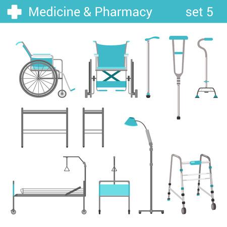 Estilo plano médico del hospital icono equipos discapacitados establecido. Cama, silla de ruedas, muletas. Colección farmacia Medicina.
