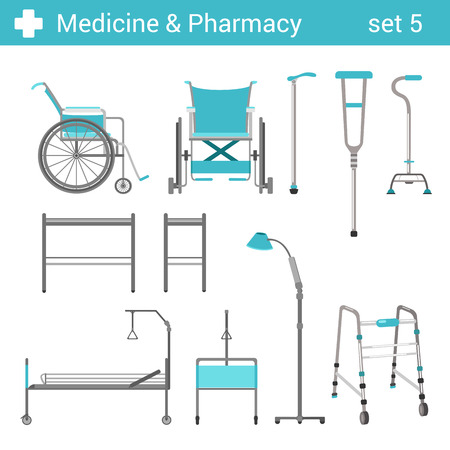 aparatos electricos: Estilo plano médico del hospital icono equipos discapacitados establecido. Cama, silla de ruedas, muletas. Colección farmacia Medicina.