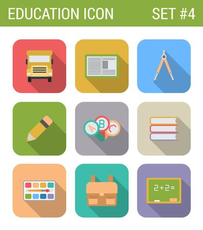 schoolbus: Flat style design long shadow education vector icon set. Schoolbus, notebook, palette, abc, сompasses, knapsack, abc, blackboard, pencil. Flat web and app icons collection.