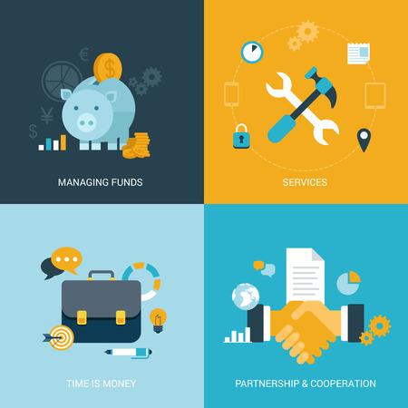 フラットなデザイン ベクトル図概念プロセス アイコン セットお金金融サービス時間を節約パートナーシップ提携契約を締結。大きなフラット プロ
