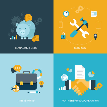 Flat design vector illustration concept process icons set of money finance services time saving partnership cooperation contract. Big flat processes collection.