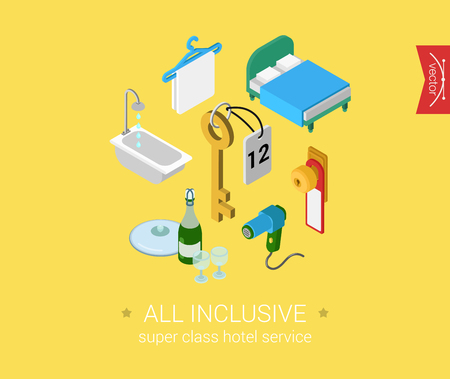 hotel room: Hotel all inclusive porter service flat 3d isometric pixel art icon set design concept vector. Room objects and icons: key, hair dryer, hanger, doorknob. Web banners illustration website infographics.