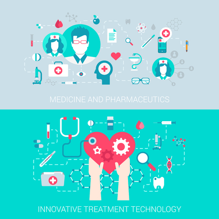 pharmaceutics: Medicine pharmaceutics modern technology treatment concept flat icons set of  process collage and vector web banners illustration print materials website click infographics elements collection.