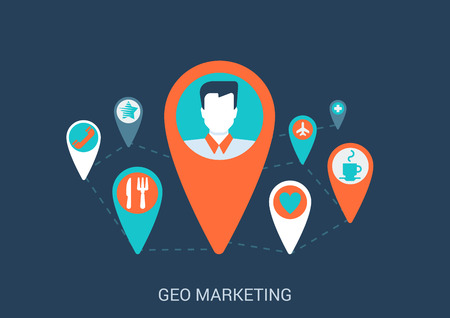 Flat style design vector illustration internet online geo gps map marketing targeting concept. Pin with profile avatar like plane coffee cafe pharmacy dating restaurant icons. Big flat collection. Illustration