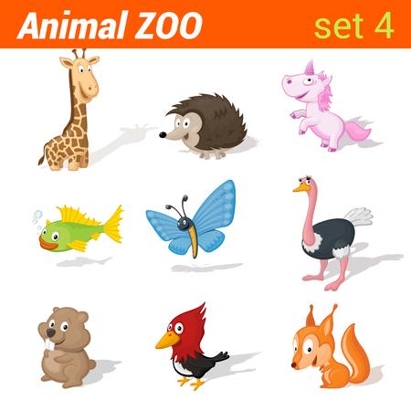 animales safari: Niños animales divertidos conjunto de iconos. Elementos de aprendizaje de idiomas para niños. Jirafa, erizo, unicornio, peces, mariposas, avestruz, hamster, pájaro carpintero, la ardilla. Colección animal del parque zoológico.