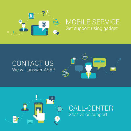 contact center: Mobile support service contact call center concept flat icons set of touch phone gadget online chat email call voice and vector web illustration website click infographics elements collection.