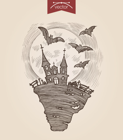 retro dark: Halloween handdrawn engraving style template dark night scary castle flying bats full moon poster banner print web site pen pencil crosshatch hatching paper painting retro vintage vector lineart illustration.