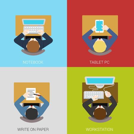 workstation: Business workplace concept flat icons set of businessman manager workspace desk interior laptop tablet pc workstation paper work vector web illustration website click infographics elements collection.