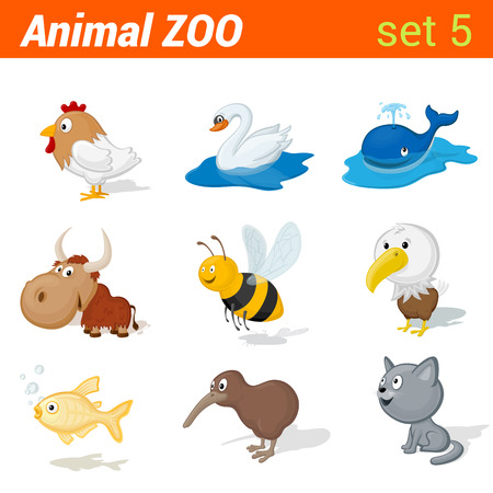 Funny children animals icon set. Kid language learning elements. Rooster, swan, whale, yak, bee, eagle, golden fish, kiwi bird, cat.   Animal Zoo collection. Illustration