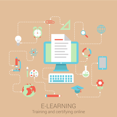 web courses: Modern flat design concept for e-learning knowledge education study online courses and vector web banners illustration print materials website click infographics elements collection. Illustration