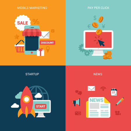 mobile business: Flat design vector illustration concept process icons set of modern mobile marketing pay per click startup business news. Big flat processes collection. Illustration