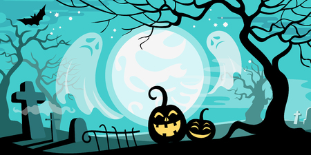backlit: Halloween vector illustration concept template scary graveyard dead tree ghosts pumpkin bat full moon. Illustration