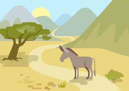 burro: Burro en los h�bitat monta�as dibujos animados dise�o plano del campo de vectores animales salvajes. Piso colecci�n naturaleza hijos zool�gico. Vectores
