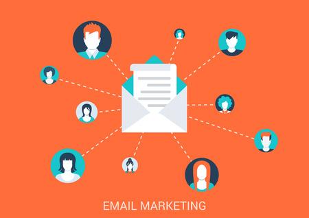 correo electronico: Piso de dise�o de estilo concepto de ilustraci�n vectorial de email marketing. La gente moderna abstractas avatar potraits conectados con sobre de correo. Gran colecci�n conceptual plana.