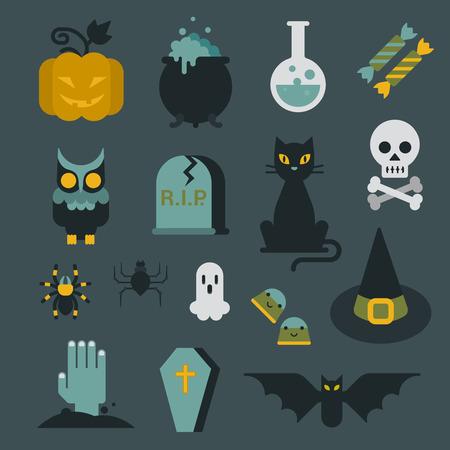 cat eye: Halloween flat icon set modern style creative design template collection. Bat spider wizard skull pumpkin cat poison grave eye gift box candle coffin owl.