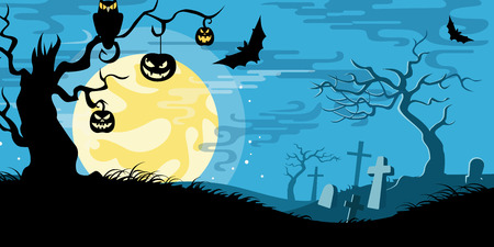 Halloween vector illustration concept template scary graveyard dead tree owl pumpkin bat full moon. Illustration