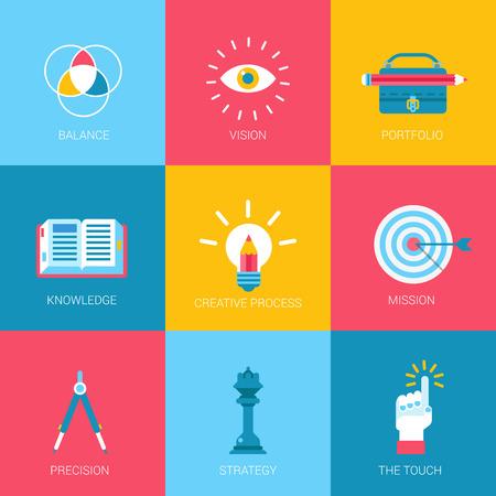 mission: Flat icons set creative portfolio design digital art web click infographics style vector illustration concept collection.
