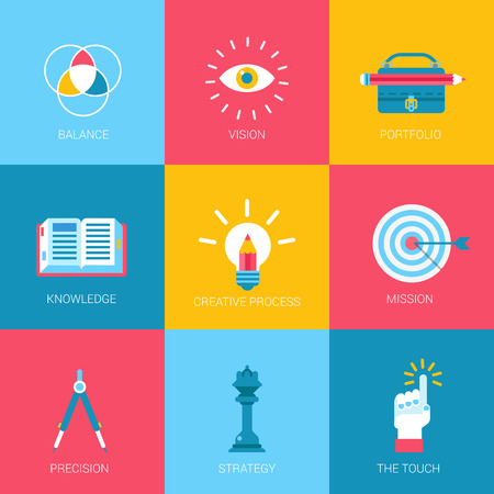 Flat icons set creative portfolio design digital art web click infographics style vector illustration concept collection.