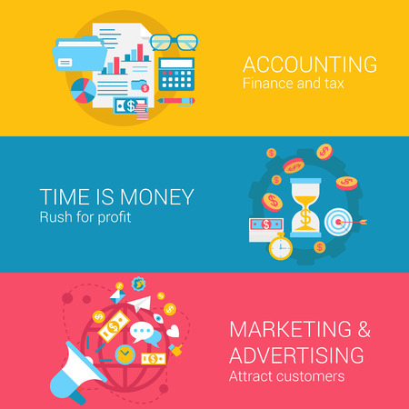 Accounting marketing advertisement concept flat icons set of time is money profit finance tax and vector web banners illustration print materials website click infographics elements collection.