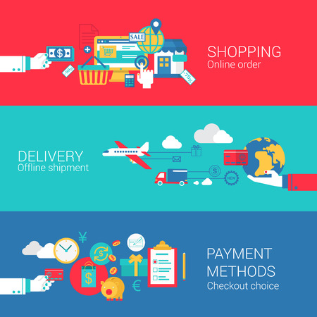 Online shopping delivery payment concept flat icons set of order shipment checkout process and vector web banners illustration print materials website click infographics elements collection. 向量圖像