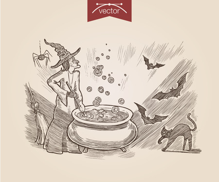crosshatch: Halloween witch cooking poison black cat bat handdrawn engraving style template poster banner print web site pen pencil crosshatch hatching paper painting retro vintage vector lineart illustration.