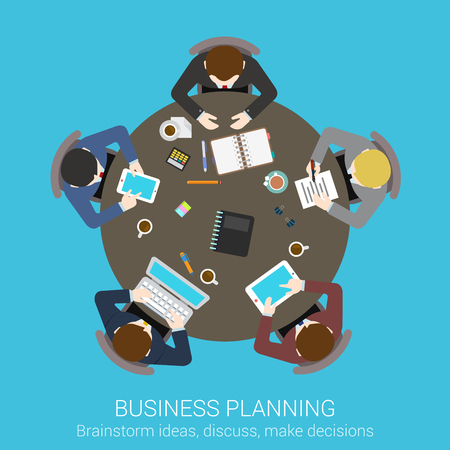 office presentation: Business planning brainstorming top view concept flat icon of round office conference meeting room table businessmen presentation vector web illustration website click infographics elements collection.