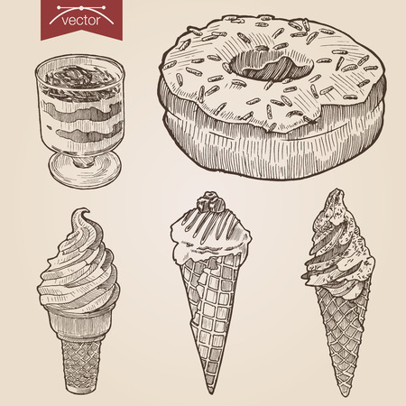 vector image: Engraving style pen pencil crosshatch hatching paper painting retro vintage vector lineart illustration set of ice cream donut layered sweet dessert. Engrave design big conceptual collection