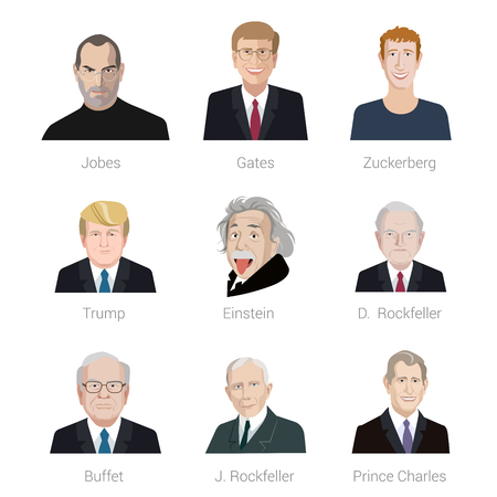 steve: Flat style vector icon set of portraits of famous men: Steve Jobs, Bill Gates, Mark Zuckerberg, Donald Trump, Albert Einstein, David Rockefeller, John Rockefeller, Warren Buffett, Prince Charles.
