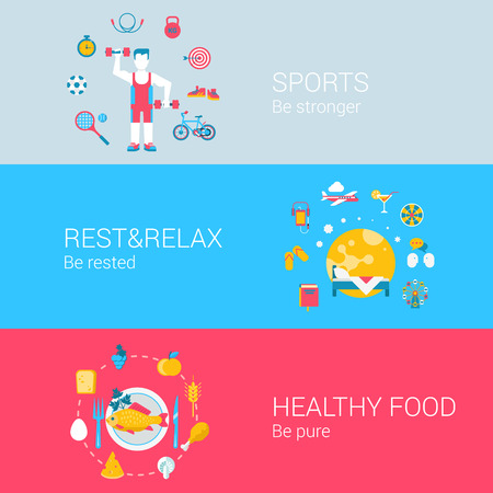 stronger: Sports healthy fresh food rest relax concept flat icons set of be stronger rested pure and vector web banners illustration print materials website click infographics elements collection. Illustration