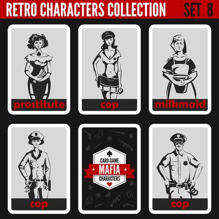 prostituta: Personas colección de época retro. Estilo noir Mafia. Policías, Prostituta, lechera. Profesiones siluetas. Vectores