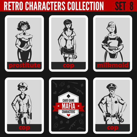 prostituta: Retro vintage people collection. Mafia noir style. Cops, Prostitute, Milkmaid.   Professions silhouettes. Vectores