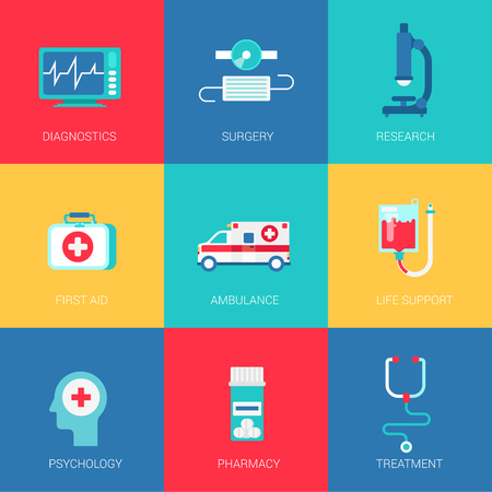 life support: Flat medicine healthcare design icons set diagnostics surgery research first aid ambulance life support psychology pharmacy modern web click infographics style vector illustration concept collection. Illustration