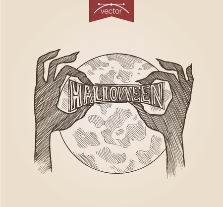 Halloween handdrawn engraving style template zombie hands holding heading poster banner print web site pen pencil crosshatch hatching paper painting retro vintage vector lineart illustration.