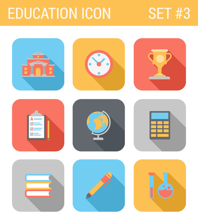 Flat style design long shadow education vector icon set. Clock, cup, clipboard, globe, calculator, calc, book, pen, chemistry, tube, bulb. Flat web and app icons collection. Illustration
