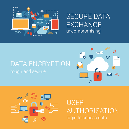 Online internet security concept flat icons banners template set secure data transfer encryption cryptography user authorization lock login vector web illustration website click infographics elements.