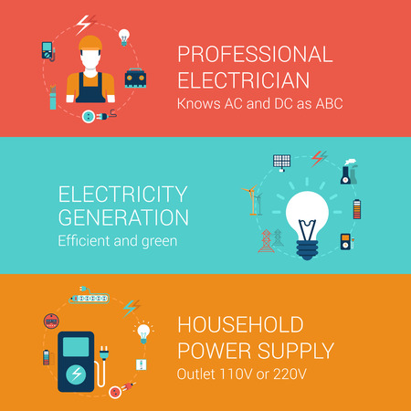Electricity service concept flat icons set of professional electrician efficient green power generation household supply outlet vector web illustration website click infographics elements collection.