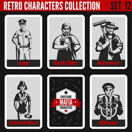 sexo femenino: Vintage personas colección retro. estilo noir de la mafia. Cop, carnicero, granjero, azafata, conductor. Profesiones siluetas.