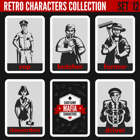 male female: Vintage retro people collection. Mafia noir style. Cop, Butcher, Farmer, Stewardess, Driver. Professions silhouettes.