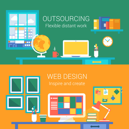 distant: Web design outsourcing distant work concept flat icons set of telework home workplace webdesigner office vector web banners illustration print materials website click infographics elements collection.
