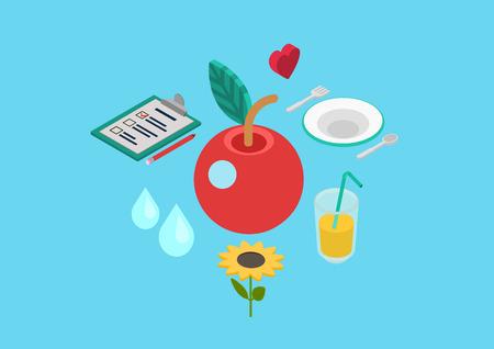 건강한 영양 바이오 자연 식품. 플랫 3D 아이소 메트릭 픽셀 아트 현대적인 디자인 개념 벡터 사과 심장 레모네이드 음료 판 꽃 웹 배너 그림 인쇄 자료
