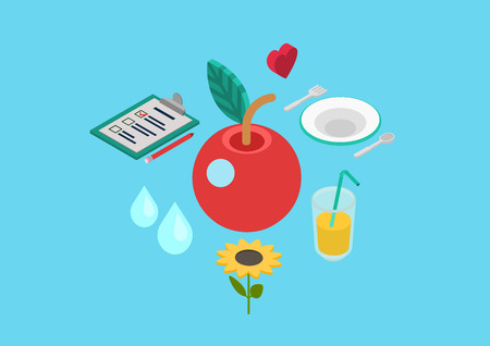 Healthy nutrition bio natural food. Flat 3d isometric pixel art modern design concept vector apple heart lemonade drink plate flower web banners illustration print materials website infographics. Stock fotó - 44798586