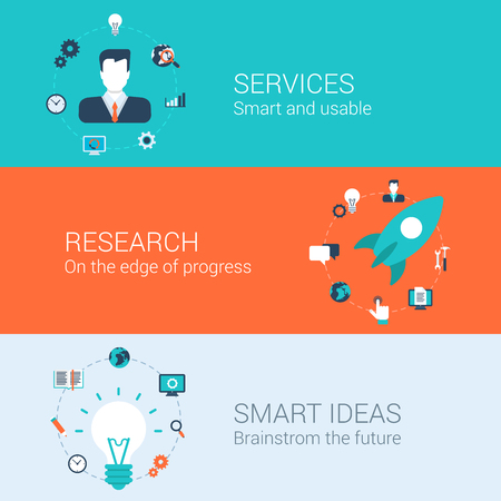 develop: Business research services idea concept flat icons set of idea start up rocket develop launch lamp bulb brainstorming and vector web illustration website click infographics elements collection.