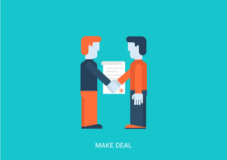 contracting: Flat style vector illustration contract make a deal concept. Two businessmen handshake contracting. Big flat conceptual collection. Illustration