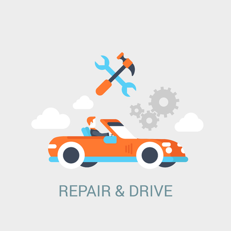 cabrio: Car repair service concept flat icon of convertible cabrio sportcar driver hammer wrench gear sign and website click for infographics design web elements vector illustration.