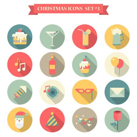 Navidad Año Nuevo vino la música cerveza limonada conjunto de iconos dulces estilo plana bebidas decoración de la torta de martini casquillo de santa rosa máscara sobre. Colección de iconos de vacaciones Plantilla Web infografía elementos de impresión. Foto de archivo - 45041606