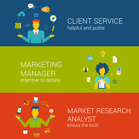 client service: Marketing CRM concept flat web banners template set client service advertisement manager market research analyst vector illustration website infographics elements. Professionals in process collection.