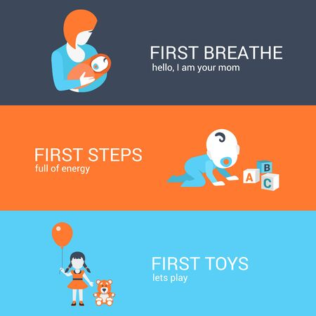 parenting: Family parenting children kids first steps concept flat icons set of mother baby boy girl toys teddy bear and website click for infographics design web elements vector illustration.