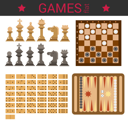 checkers: Flat design vector board game template vector icon set. Chess figures, checkers, domino, backgammon. Flat games collection. Illustration