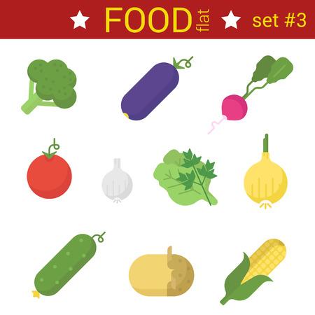elote caricatura: Piso verduras de diseño icono de vector set. Raddish, maíz, papa, ajo, zanahoria, tomate, pepino, berenjena, col, pimiento. Recogida de alimentos.
